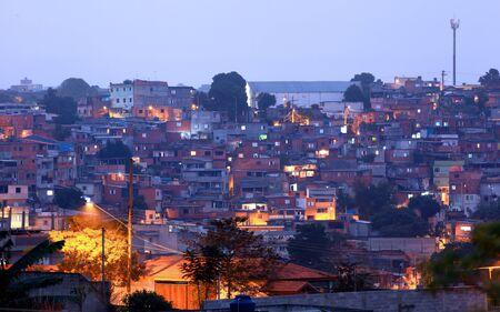 Crowded Favelas in Sao Paulo, Brazil in night time On May 02, 2015 Sao Paulo, Brazil.