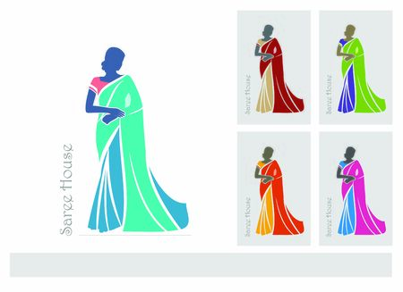 Vector illustration of Indian women with different Saree concepts