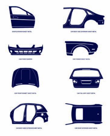 Vector illustration of automotive sheet metal parts