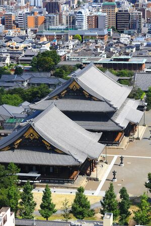 Kyoto, Japan - August 9, 2019. Aerial view of Kyoto, Japan. Kyoto city is 9th largest city in Japan and founded in year 794. Zdjęcie Seryjne