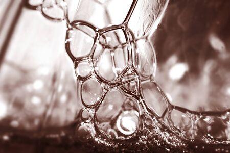 Extreme close up shot of soap bubbles Banco de Imagens