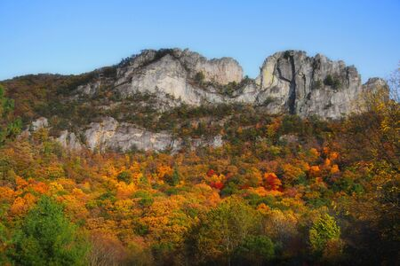 Seneca rocks peak with colorful autumn time.