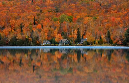 Lake Ouimet landscape near Mont Tremblant in Quebec.