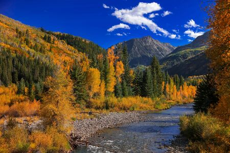 Crystal river landscape near Marble Colorado in autumn time