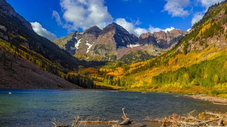 Scenic Maroon Bells landscape in autumn time near Aspen Colorado