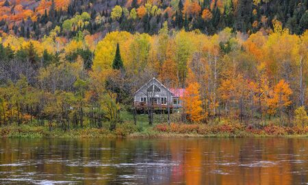 Riviere Saint Maurice in Quebec, autumn time