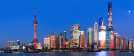 Shanghai - China - November 9,2019: Cityscape of Central district of Shanghai and financial hub of China is located on the banks of Huangpu river