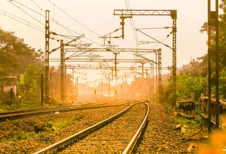 Vijayawada, INDIA - January 6 2019 : Train tracks through one of the most busiest railway stations at Vijayawada junction, India