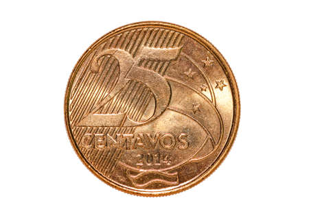 Brazilian Real currency 25 centavos coin isolated on white background Banco de Imagens