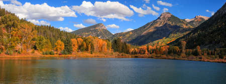 Panoramic views of Aspen trees at foot hill by the lake in autumn time