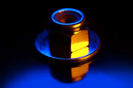 Close up shot of lock nut with colorful lighting effects