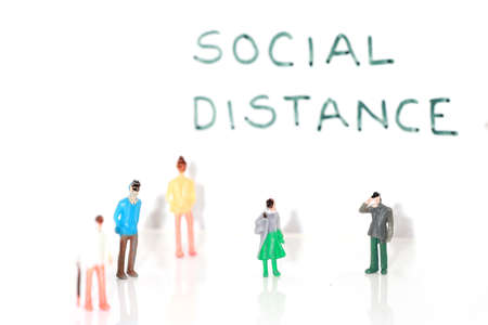 Image with Social distance text showing concept of social distancing during Covid 19 pandemic 版權商用圖片 - 155404543