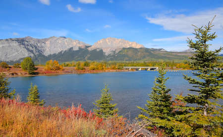 Fall foliage by scenic Bow river in rural Alberta, Canada