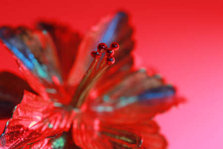 Close up shot of metallic decorative flower illuminated under colorful lights 版權商用圖片 - 155389752