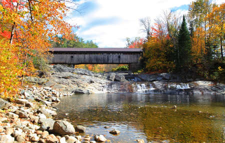 Swiftwater covered bridge Ammonoosuc river in New Hampshire