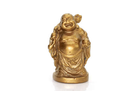 Golden statue of laughing Buddha on white background