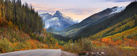 Panoramic view of Canadian rocky mountains in autumn time