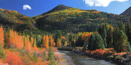 Small over Crystal river in rural Colorado surrounded with fall foliage.
