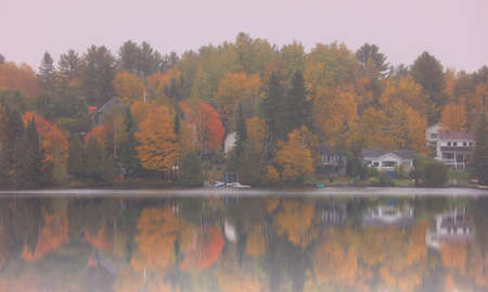 Misty morning in Quebec countryside during autumn time 版權商用圖片