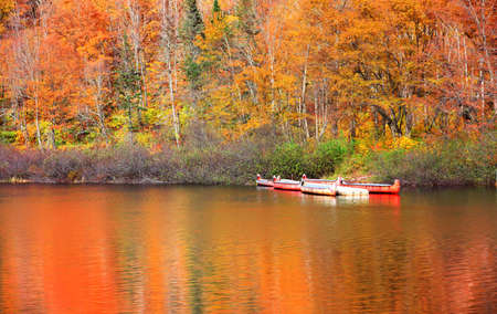 Traditional Canoes in Parc de la national Jacques Cartier in Quebec, Canada