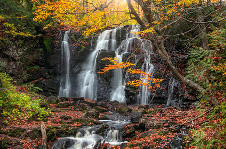 Scenic Hungarian water falls in autumn time in Michigan upper peninsula