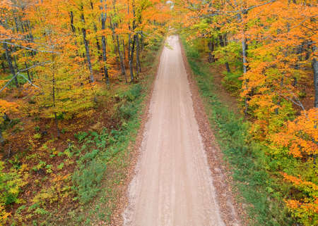 Aerial view of forest road surrounded with fall foliage in Pictured rocks area in Michigan upper peninsula