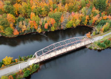 Aerial view of Old high way 510 bridge near Marquette city in Michigan upper peninsula during autumn time.