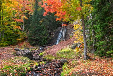 Haven falls in Keweenaw peninsula in Michigan upper peninsula during autumn time