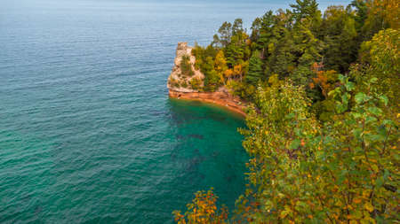 Pictured rocks national lake shore along Superior lake in Michigan upper peninsula