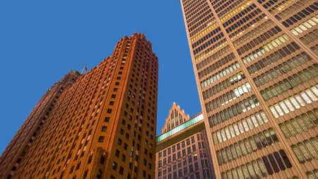 Tall buildings reaching sky in Detroit downtown