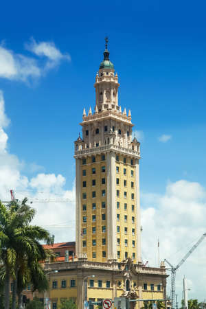 Miami, Florida- July 03, 2017 : The Freedom tower  in Miami downtown. On October 6, 2008, It was designated as U.S. National Historic Landmark .