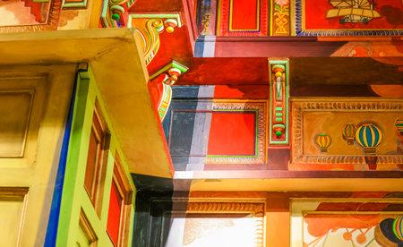MUMBAI INDIA - Dec 23 2018, Chatrapati Shivaji International Airport. Terminal 2, International Departures on DEC. 23, 2018 in Mumbai, Maharashtra, India - Colorful traditional arts displayed on walls