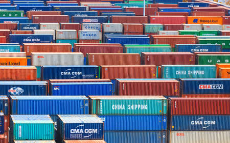 Miami,Florida-July 3,2017: Container terminal at Port of Miami is one of the largest cargo ports in the United states of America 新聞圖片