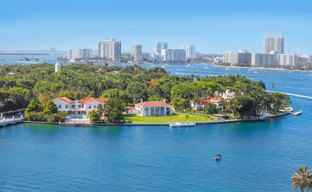 Miami, Florida-July 3,2017: Star Island is a neighborhood in the city of Miami Beach on a man-made island in Biscayne Bay, Florida, United States. Editorial