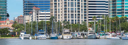 June 22. 2020. Panoramic view of the St. Petersburg municipal Marina in Downtown St. Petersburg, Florida, USA. Editorial