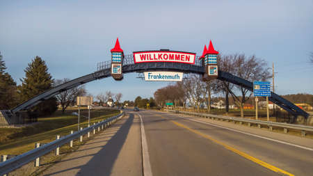 Frakenmuth, Michigan - December 29, 2020: Entrance and welcome sign to historic Frankenmuth village in Michigan.
