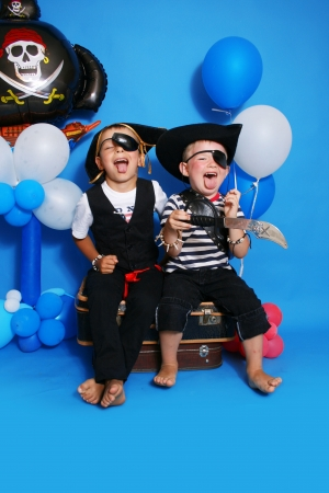 Two pirate on a blue background Stock Photo - 14291488