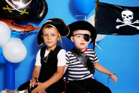 Two pirate on a blue background photo