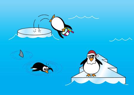 pinguinos navidenos: Pingüinos de la Navidad en el hielo y en el dibujo animado del agua Vectores