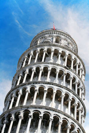 The leaning tower of Pisa. A world landmark located in Italy.