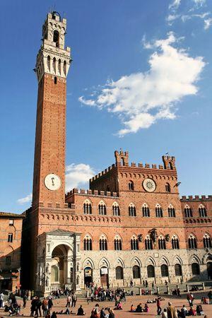 Siena Public Palace (Palazzo Pubblico) Tuscany,Italy Stock Photo