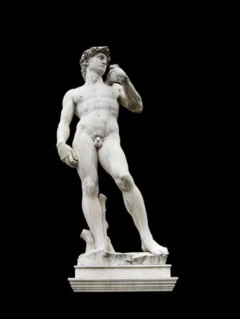 The David of Michelangelo in Florence,Italy. Isolated on black background.
