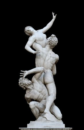 Giambolognas masterpiece,The Rape of the Sabine Women, is a famous Renaissance sculpture. Piazza della Signoria, Florence, Tuscany,Italy Stock Photo