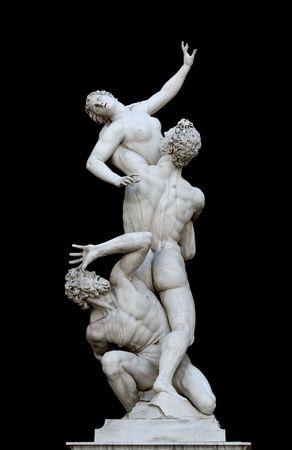 Giambologna's masterpiece,The Rape of the Sabine Women, is a famous Renaissance sculpture. Piazza della Signoria, Florence, Tuscany,Italy Stock Photo - 591241