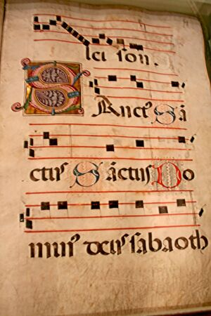 A medieval music Tablature parchment