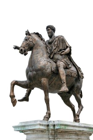 The Equestrian Statue of Marcus Aurelius (ancient roman statue dated 175 AC) is made of bronze and stands 11 6 tall. The statue is the subject of the 0.50 Italian euro coin. Isolated on white background for rapid masking.