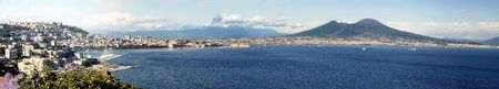 Panoramic view of the gulf of Naples with mount Vesuvius in the background Stock Photo - 591301