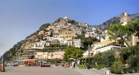 Positano city viewfrom the beach, on the Amalfi Coast of Italy Stock Photo - 590923