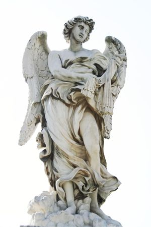 Marble angel by Giovanni Bernini on the SantAngelo bridge in Rome,Italy Stock Photo