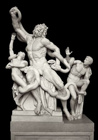 monumental: The statue of Laocoon and his Sons, also called the Laocoon Group, is a monumental marble sculpture, now in the Vatican Museums, Rome. The Trojan priest Laocoon was strangled by sea snakes with his two sons, sent by the gods who favored the Greeks. Becaus